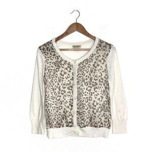 Lucky Brand Charleen Silk Leopard Cropped Cardi M